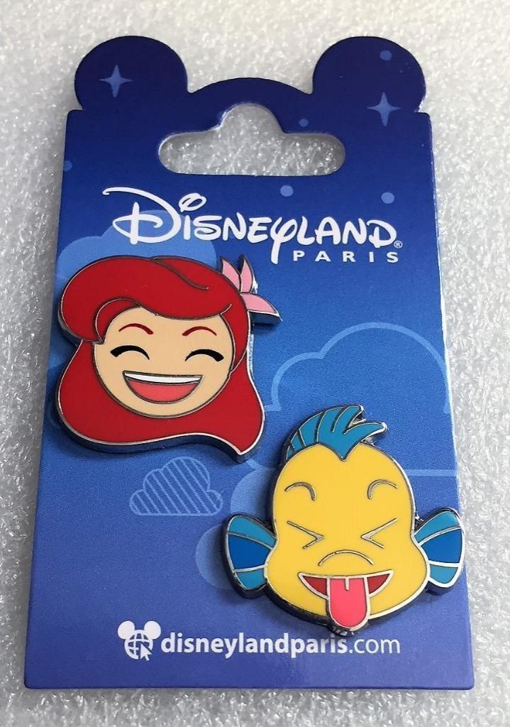 View Pin: DLP - The Little Mermaid Emojis - Ariel and Flounder 2-pin set